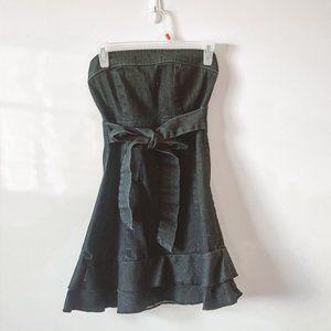 Strapless Chambray Denim Frill Dress